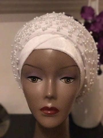 Beaded Mesh Velvet Head wrap  ( Extra Long Scarf) - ATMKollectionz