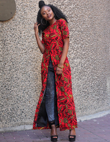 African Print Front Slit Long Blouse/Top - Red - African Clothing from CUMO LONDON
