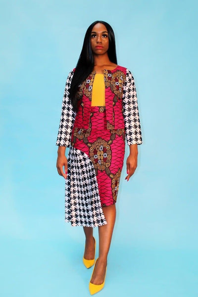 New in SOOMACHI African Ankara Print Jacket and Skirt Set - African Clothing from CUMO LONDON