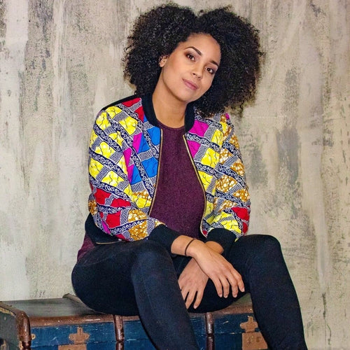 New in Mixed Print Ankara Bomber Jacket
