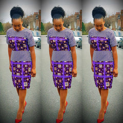 African Print Ankara Combo Pencil Dress - African Clothing from CUMO LONDON