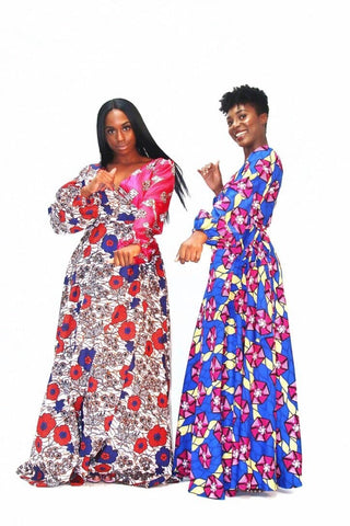 Abike African Print multi-coloured Ankara Silk Wrap Maxi Dress - African Clothing from CUMO LONDON
