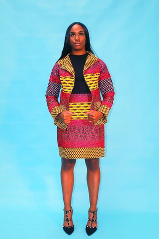 New in Kiki African Ankara Print Jacket and Skirt Set - African Clothing from CUMO LONDON