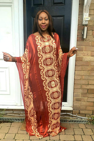 Embellished Chiffon African Burnt Orange Bubu Maxi Dress - One Size Fits All - ATMKollectionz
