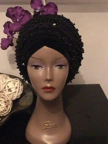 Black Pearl Fully Beaded Velvet Turban Headwrap/Hijab -Extra Large