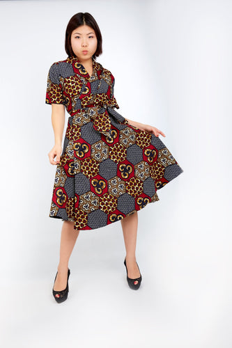New in African Ankara Print Wrap Dress -Maroon