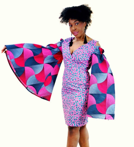 Rikka - Embellished Pink African Print Ankara Fitted Dress with Cut-out Sleeves - African Clothing from CUMO LONDON
