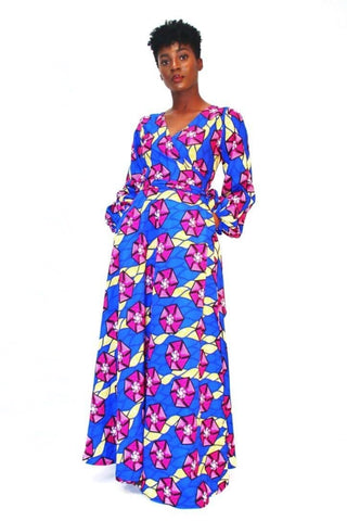Top 10 stylish African Print Maxi Dress from ATMkollectionz is the Abike Silk Wrap dress in purple