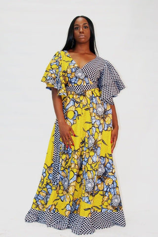 African Print Yellow Ankara Print Maxi Dress - African Clothing from CUMO LONDON