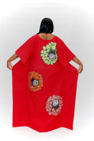 Embellished Ankara Inspired Bubu - Red (One Size - African Clothing from CUMO LONDON