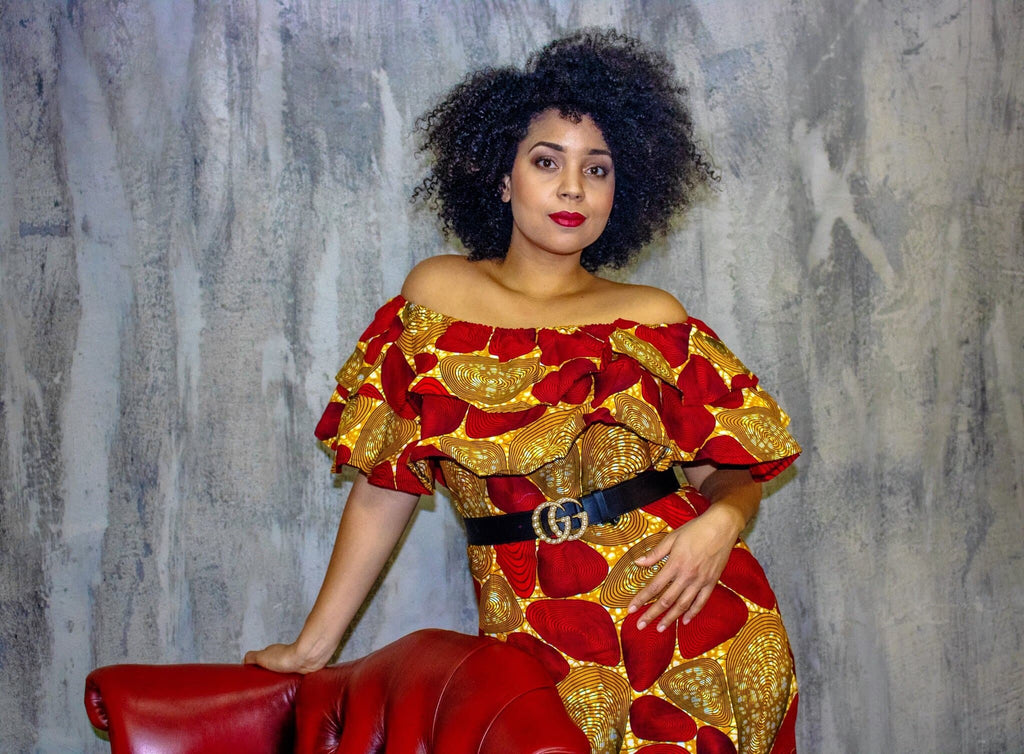 ad23a89c8b5866 African Dress | Off Shoulder African Midi Dress | ATMKollectionz