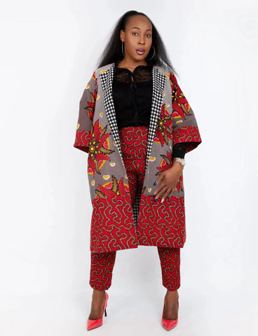 New In Embellished Kolia African Ankara Combo Print Midi Jacket (matching Trouser sold separately) - ATMKollectionz
