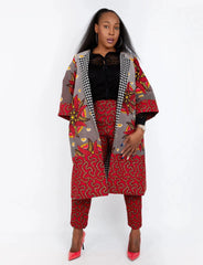 New In Embellished Kolia African Ankara Combo Print Midi Jacket (matching Trouser sold separately) - African Clothing from CUMO LONDON