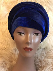 Double Velvet Turban Headwraps in Royal Blue - African Clothing from CUMO LONDON