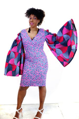 Embellished Pink African Print Ankara Fitted Dress with Cut-out Sleeves - ATMKollectionz