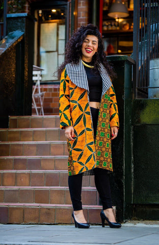 New In African Ankara Combo Print Midi Jacket - ATMKollectionz