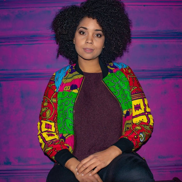 African Mixed Print Ankara Bomber Jacket - African Clothing from CUMO LONDON