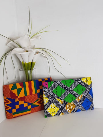 New In African Ankara Wax Print Clutch Bag