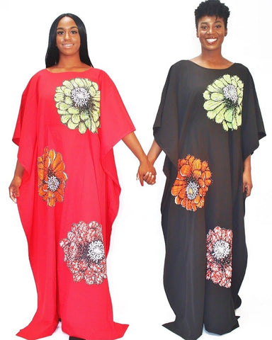 Embellished Ankara Inspired Bubu - Red
