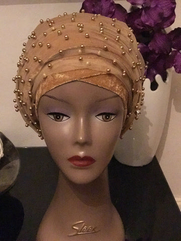 Beaded Mesh Velvet Head wrap  ( Extra Long Scarf)
