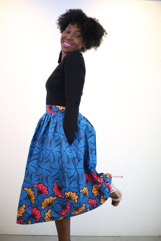 New in African Ankara Print Midi Skirt