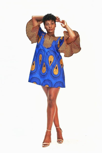 African Ankara Print Summer Shift Dress -Blue - African Clothing from CUMO LONDON