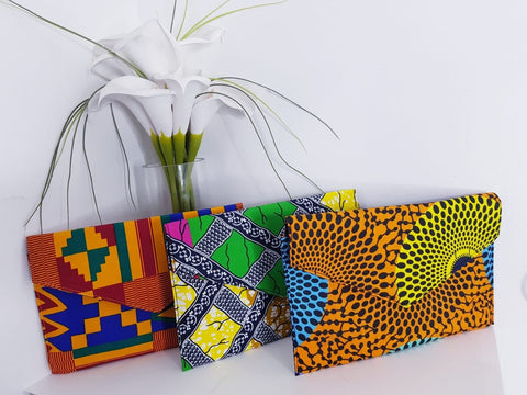 New In African Ankara Wax Print Clutch Bag - African Clothing from CUMO LONDON