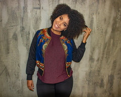 New in Padded Mixed Print Ankara Bomber Jacket - Blue - ATMKollectionz