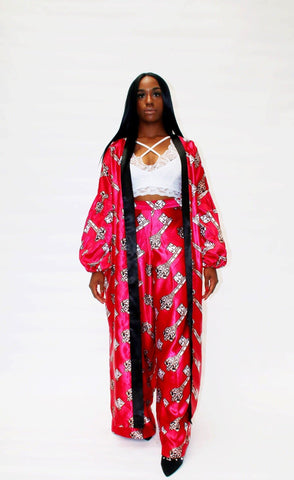 Cece Kimono Set in African Print Ankara Silk - African Clothing from CUMO LONDON