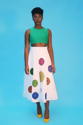 Kamara Lace Ankara Combo Embellished Flare Skirt - White - African Clothing from CUMO LONDON