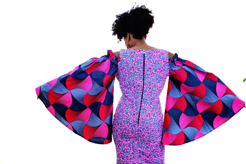 Embellished Pink African Print Ankara Fitted Dress with Cut-out Sleeves