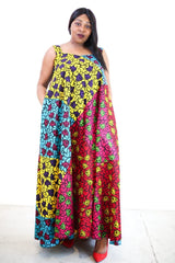 New in African Print Mixed coloured Ankara Print Maxi Dress - ATMKollectionz