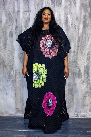 New in One Size Fits All  Embellished Lace Ankara Inspired Bubu - ATMKollectionz