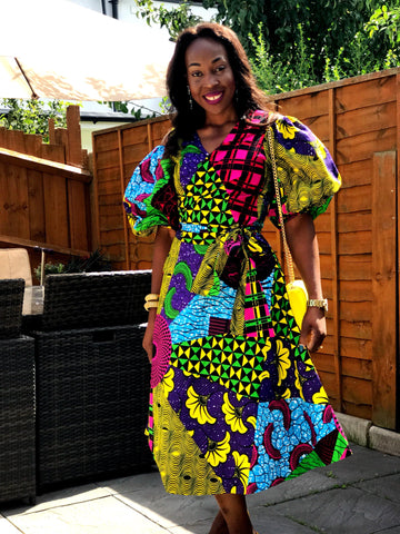 African Ankara Print Wrap Top - Puff Sleeves - African Clothing from CUMO LONDON