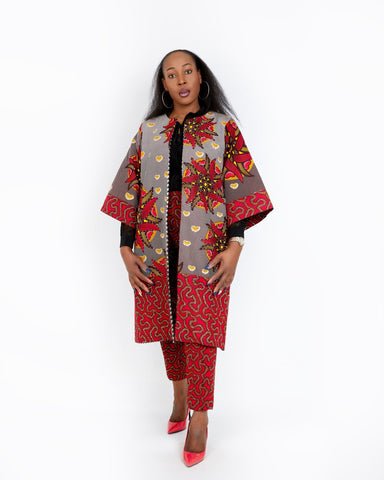 New In Embellished Kolia African Ankara Combo Print Midi Jacket (matching Trouser sold separately)