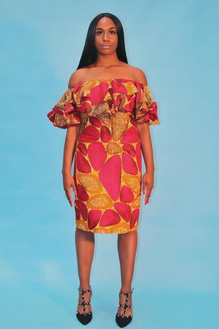 African Print Off shoulder Midi Dress
