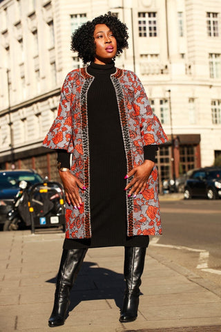 K'unna Embellished African Print Midi Jacket - African Clothing from CUMO LONDON