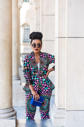 New In OMA African Ankara Print Jacket and Trouser Set - ATMKollectionz