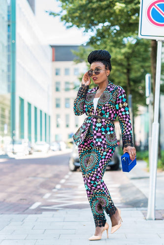 New In OMA African Ankara Print Jacket and Trouser Set