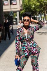 New In OMA African Ankara Print Jacket and Trouser Set - African Clothing from CUMO LONDON