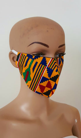 Kente African Print Face Mask | Ankara Fabric Print Face Masks - Nima - African Clothing from CUMO LONDON