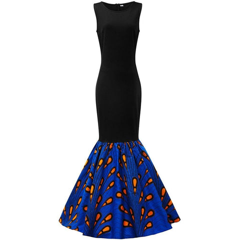 African Print Inspired Maxi Sleeveless with Matching Headwrap - African Clothing from CUMO LONDON