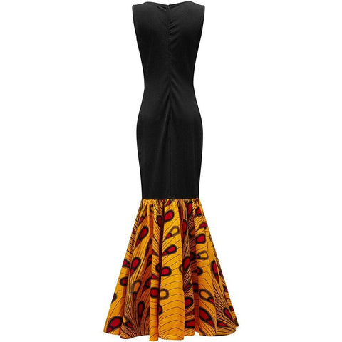 New In: African Maxi Sleeveless Dress Handmade with Ankara Print with Matching Headwrap - ATMKollectionz