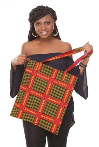 African Print Handmade Traditional Ankara Kente Print Tote Bag with Lining - ATMKollectionz