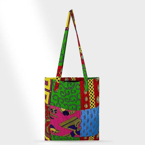 African Print Handmade Ankara Kente Print Tote Bag with Lining - African Clothing from CUMO LONDON