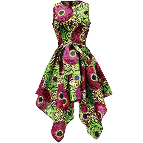 African Silk Print Asymmetric Sleeveless Top / Gowns Sexy in Plus Size - Pre order - ATMKollectionz