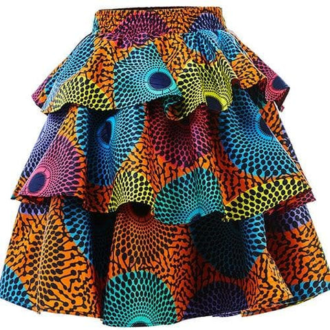 New In Three Tier African Print Ankara Knee Length Skirt - ATMKollectionz