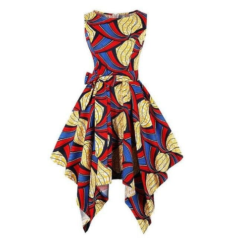 African Silk Print Asymmetric Sleeveless Top / Gowns Sexy in Plus Size - African Clothing from CUMO LONDON