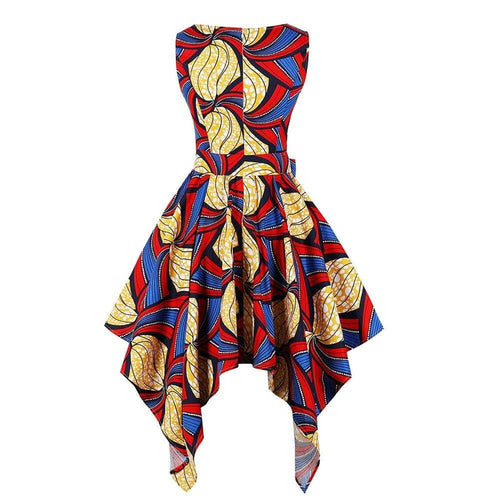 African Silk Print Asymmetric Sleeveless Top / Gowns Sexy in Plus Size