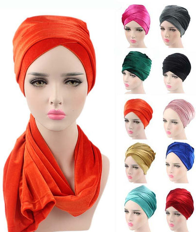 Plain Velvet Turban/Hijab Head Wrap Extra Long - ATMKollectionz